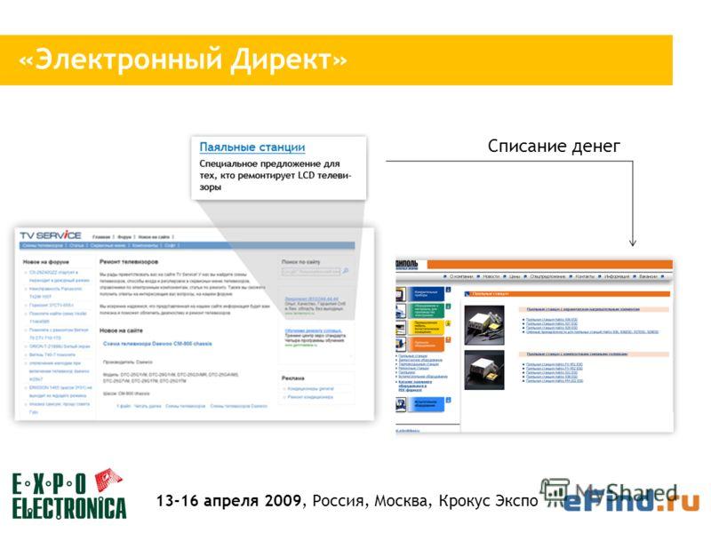 Cписание денег «Электронный Директ» 13-16 апреля 2009, Россия, Москва, Крокус Экспо