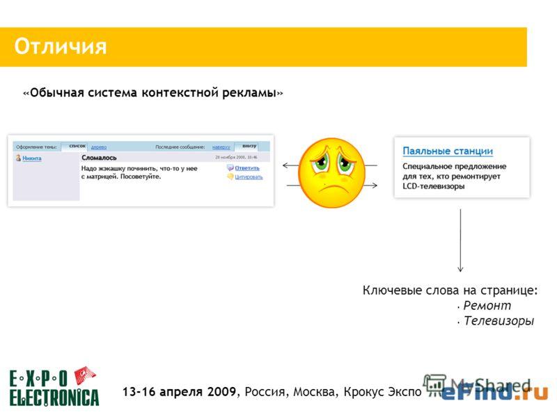 Отличия Ключевые слова на странице: «Обычная система контекстной рекламы» 13-16 апреля 2009, Россия, Москва, Крокус Экспо Ремонт Телевизоры