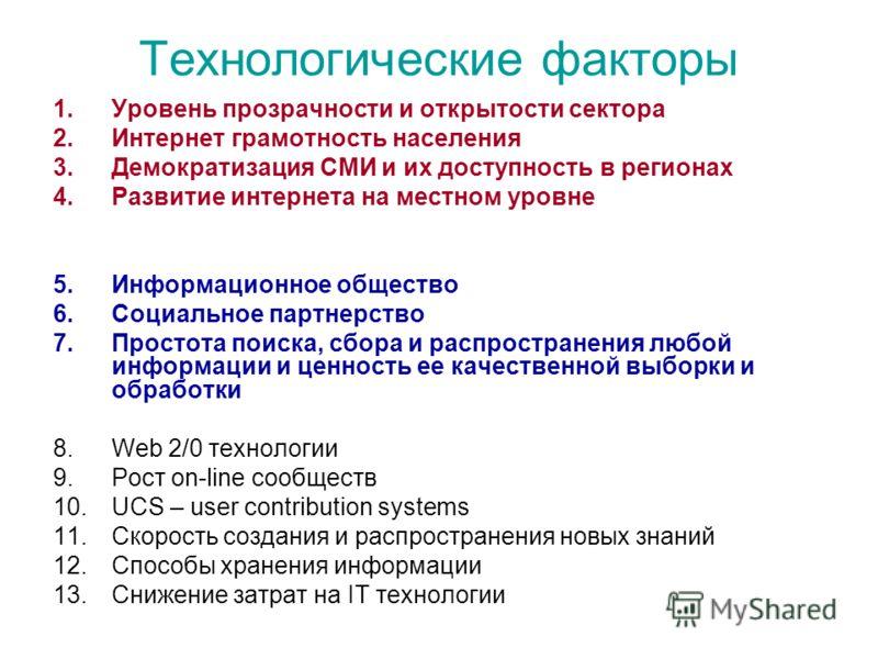 Технологические факторы 1.Уровень прозрачности и открытости сектора 2.Интернет грамотность населения 3.Демократизация СМИ и их доступность в регионах 4.Развитие интернета на местном уровне 5.Информационное общество 6.Социальное партнерство 7.Простота