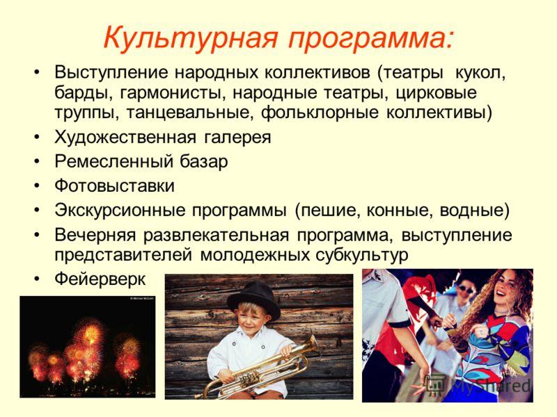 Культурная программа: Выступление народных коллективов (театры кукол, барды, гармонисты, народные театры, цирковые труппы, танцевальные, фольклорные коллективы) Художественная галерея Ремесленный базар Фотовыставки Экскурсионные программы (пешие, кон