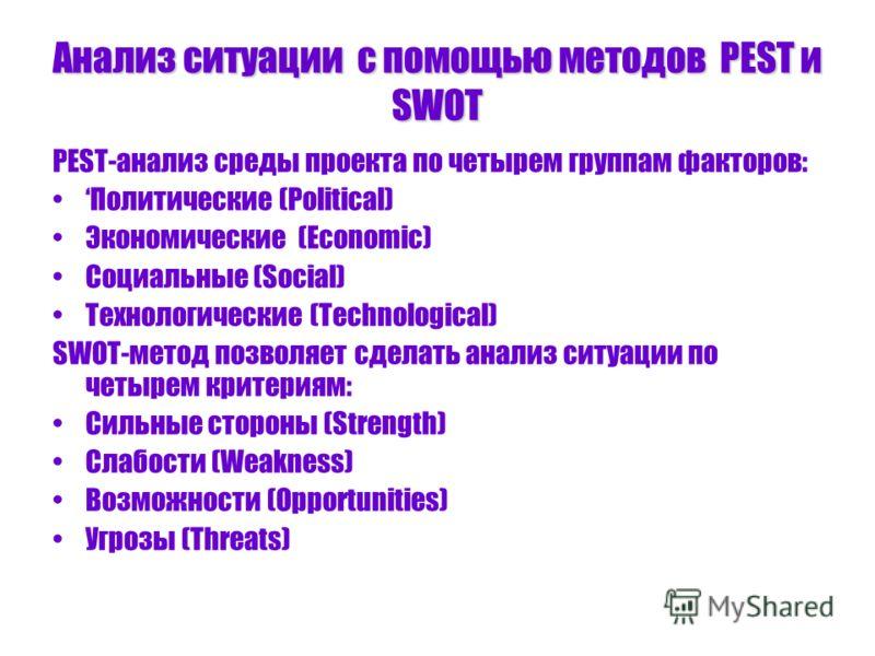 Анализ ситуации с помощью методов PEST и SWOT PEST-анализ среды проекта по четырем группам факторов: Политические (Political) Экономические (Economic) Социальные (Social) Технологические (Technological) SWOT-метод позволяет сделать анализ ситуации по