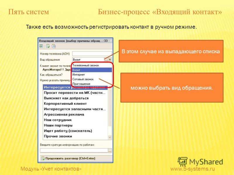 Также есть возможность регистрировать контакт в ручном режиме. В этом случае из выпадающего списка можно выбрать вид обращения. Модуль «Учет контактов» www.5-systems.ru Пять систем Бизнес-процесс «Входящий контакт»