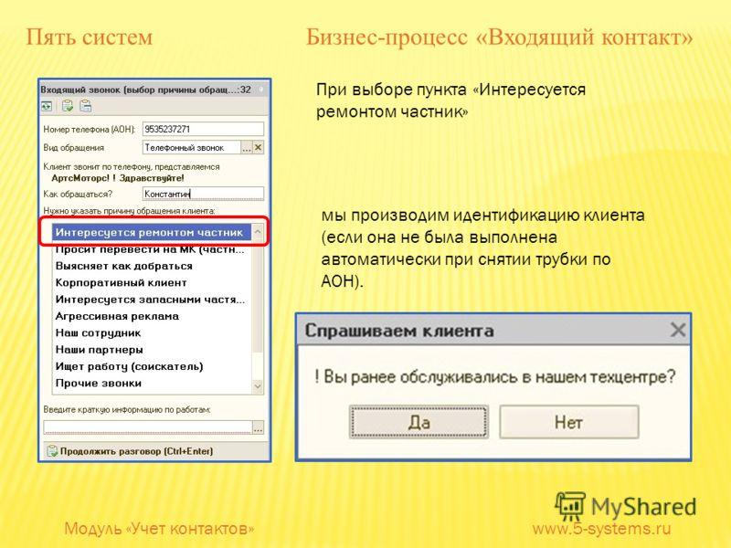 При выборе пункта «Интересуется ремонтом частник» мы производим идентификацию клиента (если она не была выполнена автоматически при снятии трубки по АОН). Модуль «Учет контактов» www.5-systems.ru Пять систем Бизнес-процесс «Входящий контакт»