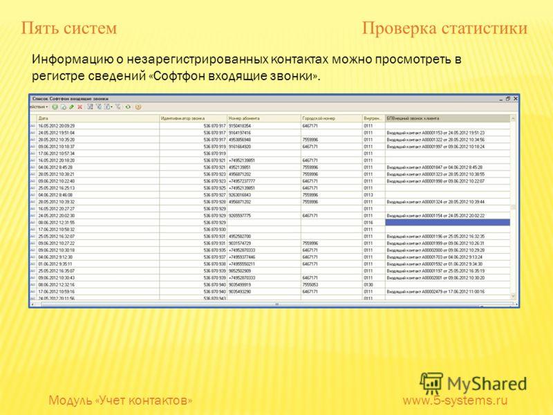 Информацию о незарегистрированных контактах можно просмотреть в регистре сведений «Софтфон входящие звонки». Модуль «Учет контактов» www.5-systems.ru Пять систем Проверка статистики