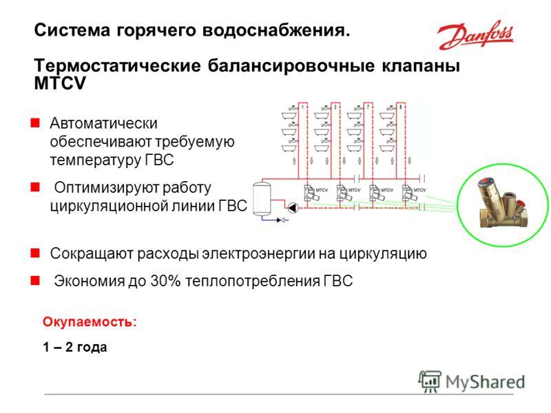 Система горячего водоснабжения. Термостатические балансировочные клапаны MTCV Сокращают расходы электроэнергии на циркуляцию Экономия до 30% теплопотребления ГВС Автоматически обеспечивают требуемую температуру ГВС Оптимизируют работу циркуляционной