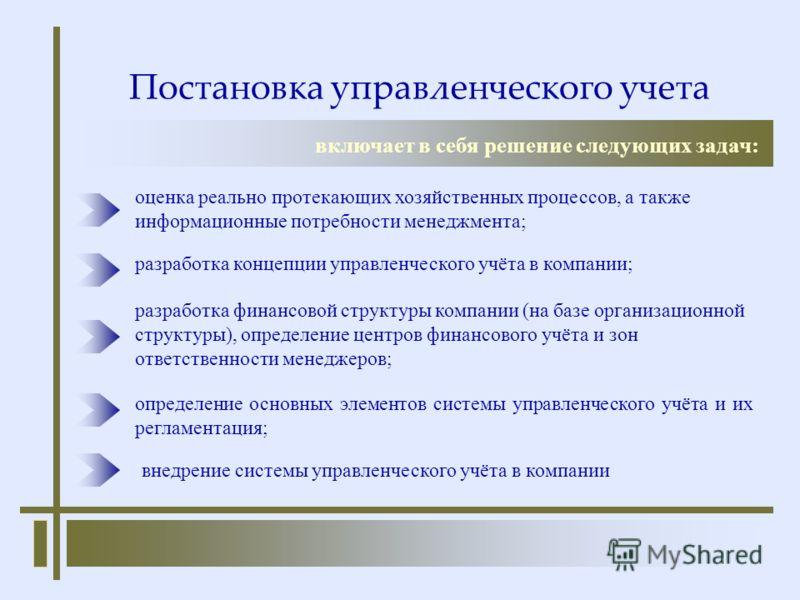 Постановка управленческого учета включает в себя решение следующих задач: разработка финансовой структуры компании (на базе организационной структуры), определение центров финансового учёта и зон ответственности менеджеров; оценка реально протекающих