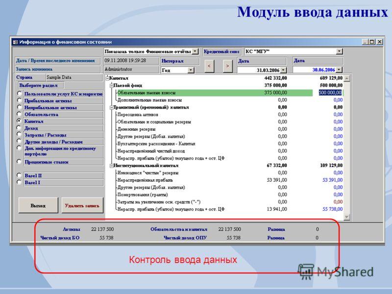 Модуль ввода данных Контроль ввода данных