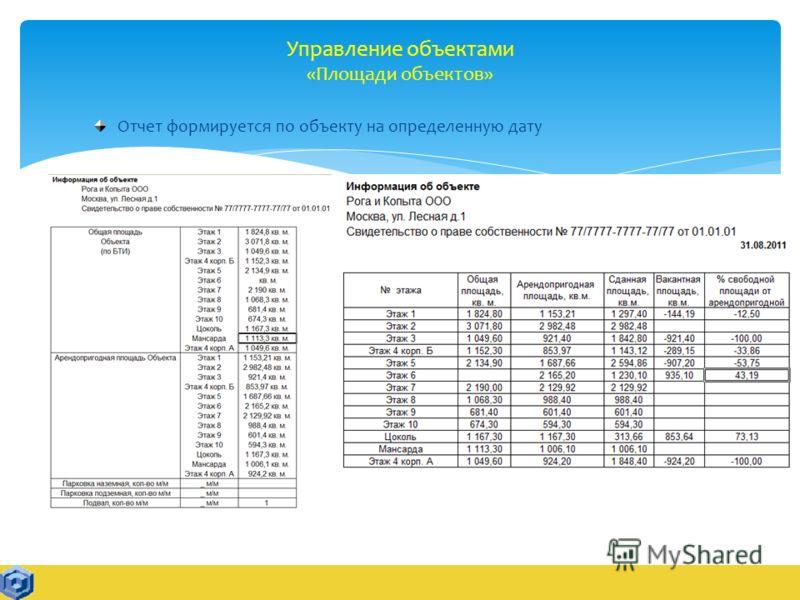 Управление объектами «Площади объектов» Отчет формируется по объекту на определенную дату