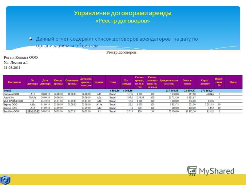 Управление договорами аренды «Реестр договоров» Данный отчет содержит список договоров арендаторов на дату по организациям и объектам