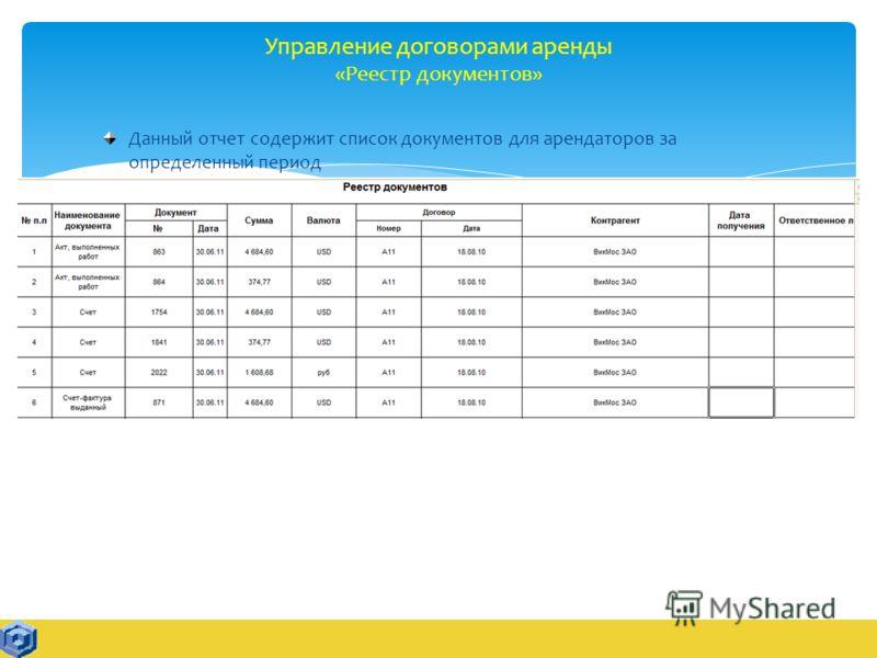 Управление договорами аренды «Реестр документов» Данный отчет содержит список документов для арендаторов за определенный период