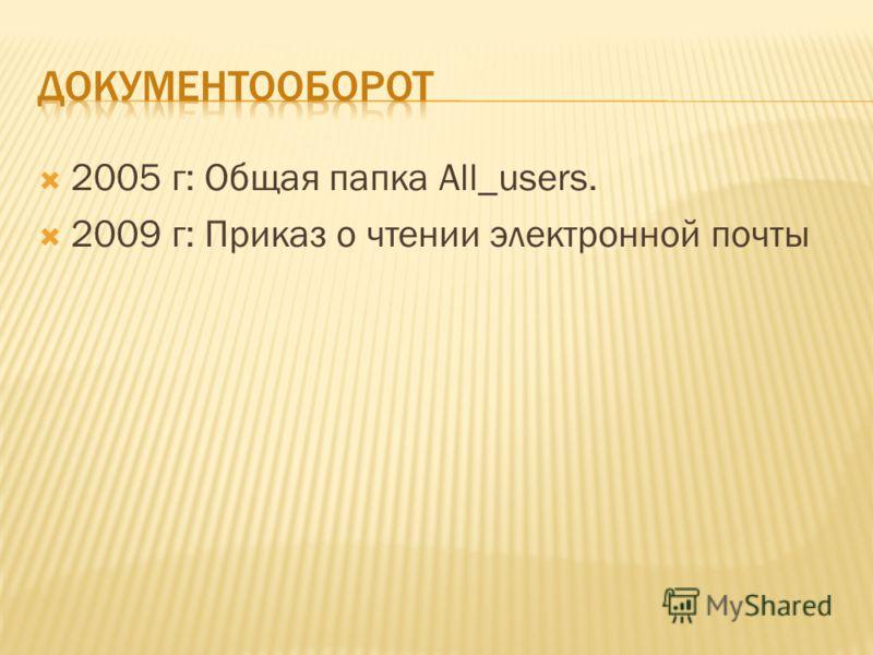 2005 г: Общая папка All_users. 2009 г: Приказ о чтении электронной почты
