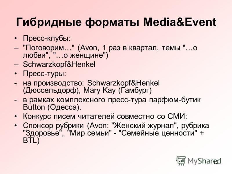 15 Гибридные форматы Media&Event Пресс-клубы: –