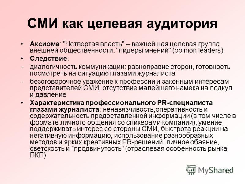 17 СМИ как целевая аудитория Аксиома: