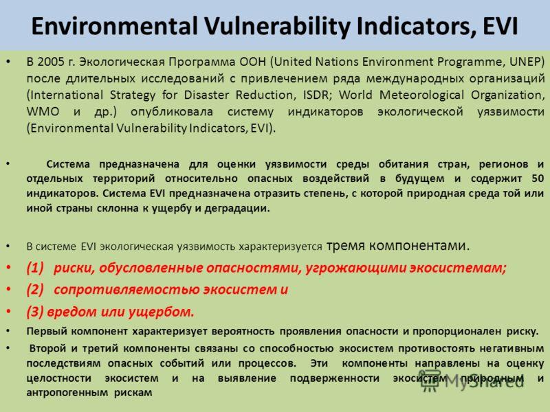 Environmental Vulnerability Indicators, EVI В 2005 г. Экологическая Программа ООН (United Nations Environment Programme, UNEP) после длительных исследований с привлечением ряда международных организаций (International Strategy for Disaster Reduction,