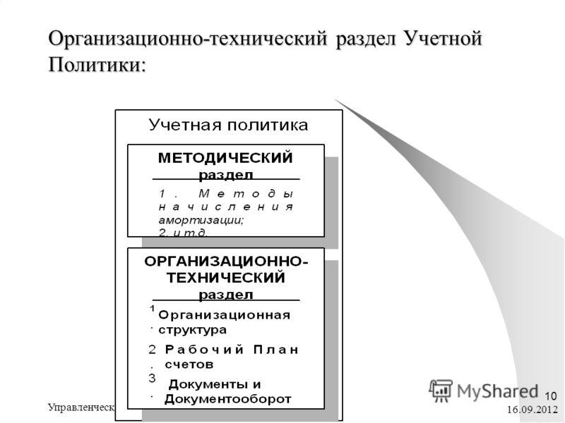 16.09.2012 Управленческий учет ЭП@ФК_ тема 6 10 Организационно-технический раздел Учетной Политики:
