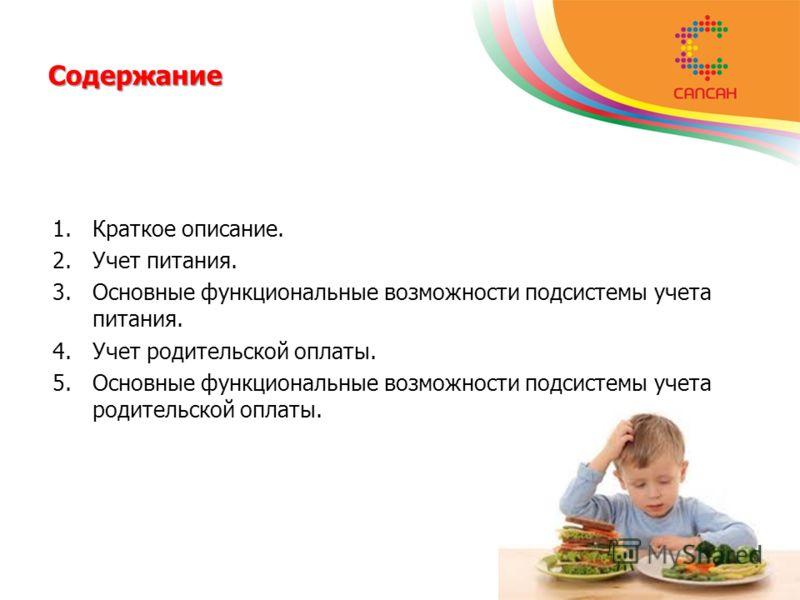 Содержание 1.Краткое описание. 2.Учет питания. 3.Основные функциональные возможности подсистемы учета питания. 4.Учет родительской оплаты. 5.Основные функциональные возможности подсистемы учета родительской оплаты.