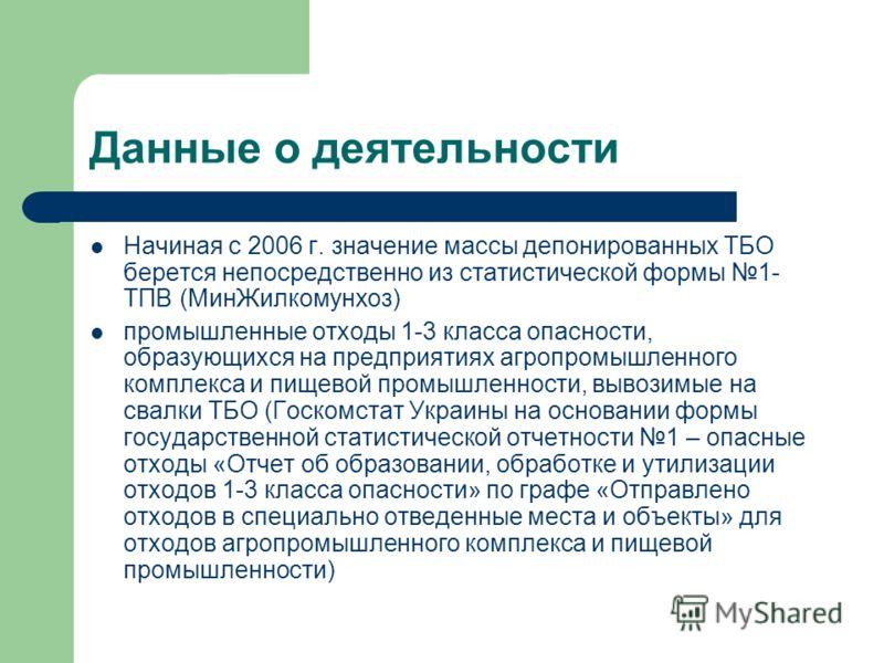 Данные о деятельности Начиная с 2006 г. значение массы депонированных ТБО берется непосредственно из статистической формы 1- ТПВ (МинЖилкомунхоз) промышленные отходы 1-3 класса опасности, образующихся на предприятиях агропромышленного комплекса и пищ