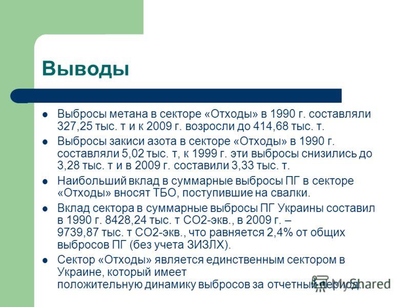 Выводы Выбросы метана в секторе «Отходы» в 1990 г. составляли 327,25 тыс. т и к 2009 г. возросли до 414,68 тыс. т. Выбросы закиси азота в секторе «Отходы» в 1990 г. составляли 5,02 тыс. т, к 1999 г. эти выбросы снизились до 3,28 тыс. т и в 2009 г. со