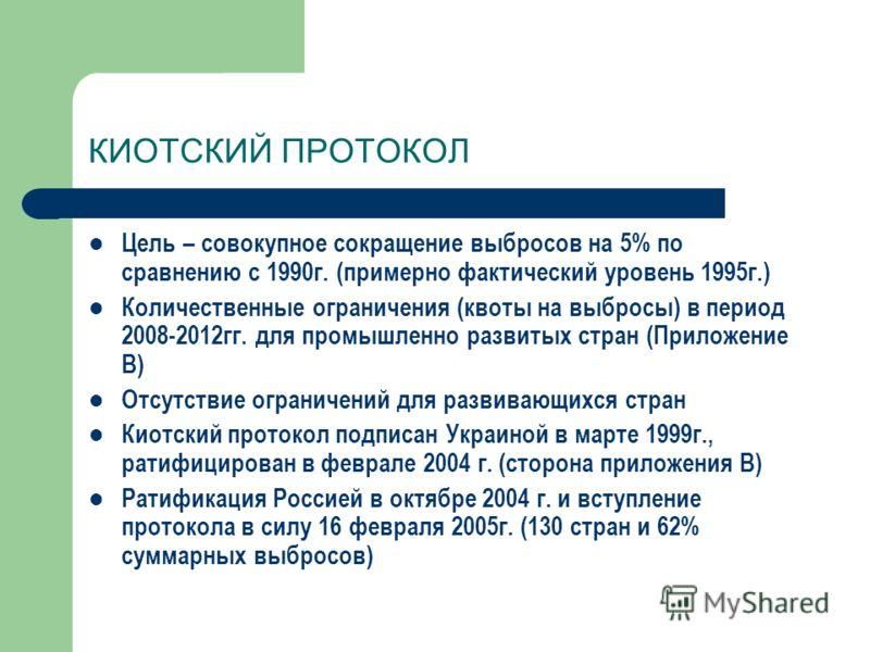 КИОТСКИЙ ПРОТОКОЛ Цель – совокупное сокращение выбросов на 5% по сравнению с 1990г. (примерно фактический уровень 1995г.) Количественные ограничения (квоты на выбросы) в период 2008-2012гг. для промышленно развитых стран (Приложение В) Отсутствие огр