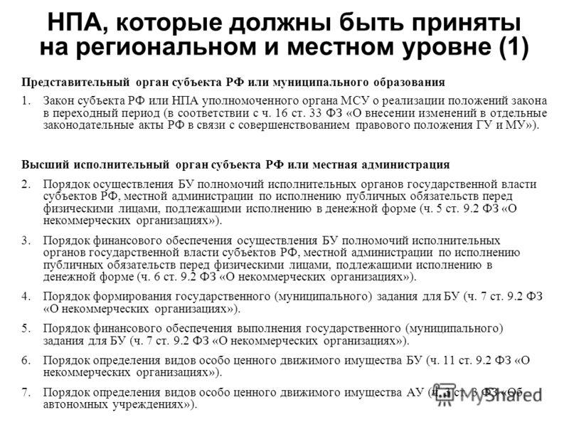 НПА, которые должны быть приняты на региональном и местном уровне (1) Представительный орган субъекта РФ или муниципального образования 1.Закон субъекта РФ или НПА уполномоченного органа МСУ о реализации положений закона в переходный период (в соотве