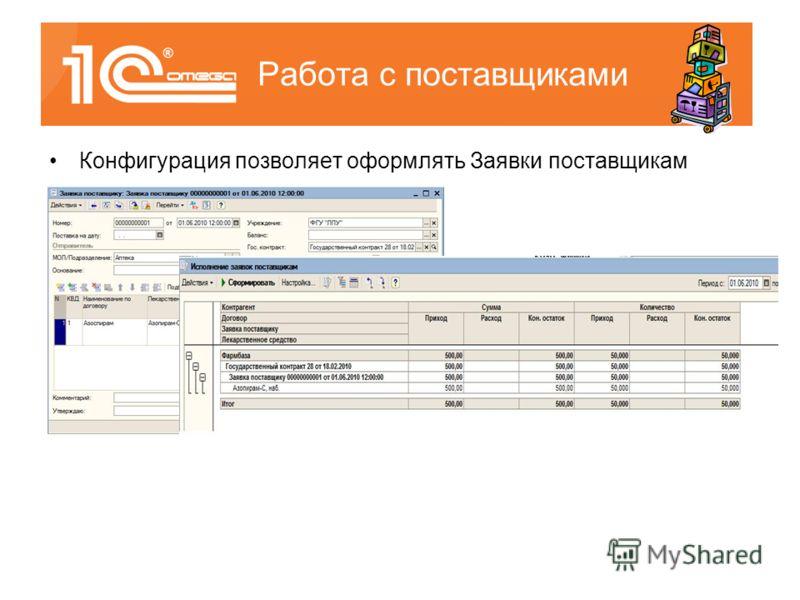Конфигурация позволяет оформлять Заявки поставщикам Работа с поставщиками