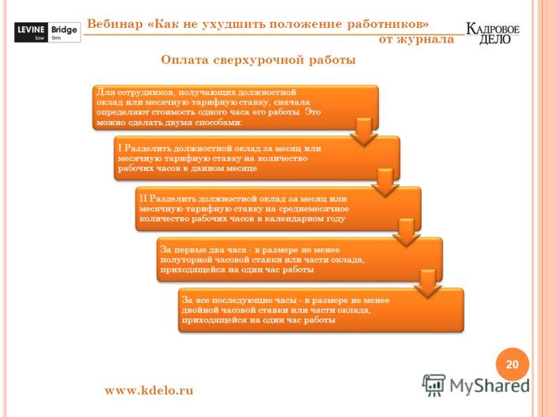 20 Вебинар «Как не ухудшить положение работников» от журнала www.kdelo.ru Оплата сверхурочной работы Для сотрудников, получающих должностной оклад или месячную тарифную ставку, сначала определяют стоимость одного часа его работы. Это можно сделать дв
