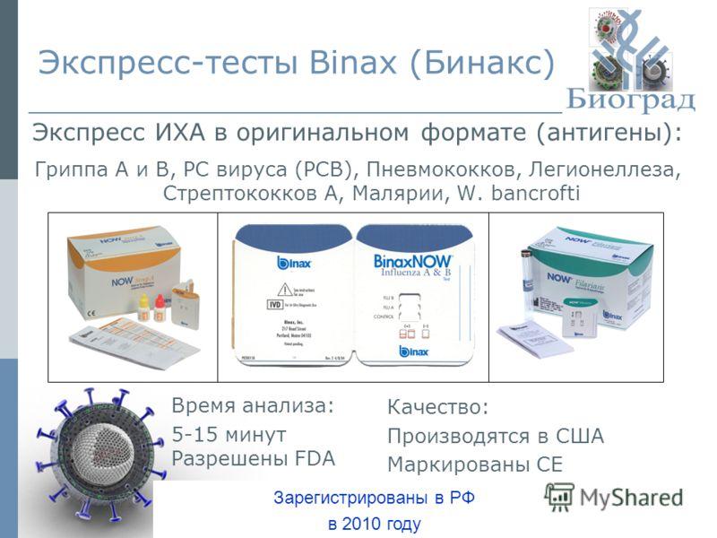 Экспресс-тесты Binax (Бинакс) Экспресс ИХА в оригинальном формате (антигены): Гриппа А и В, РС вируса (РСВ), Пневмококков, Легионеллеза, Стрептококков А, Малярии, W. bancrofti Время анализа: 5-15 минут Разрешены FDA Качество: Производятся в США Марки