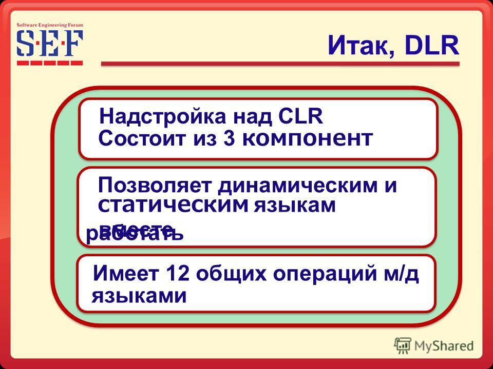 Итак, DLR Имеет 12 общих операций м/д языками Позволяет динамическим и статическим языкам работать вместе Состоит из 3 компонент Надстройка над CLR