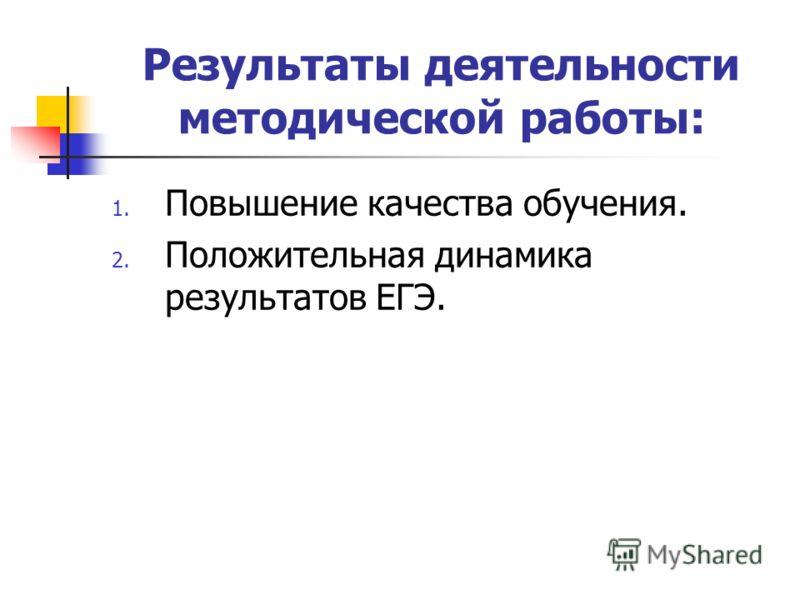 Результаты деятельности методической работы: 1. Повышение качества обучения. 2. Положительная динамика результатов ЕГЭ.