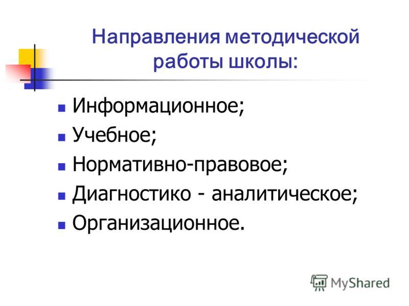 Направления методической работы школы: Информационное; Учебное; Нормативно-правовое; Диагностико - аналитическое; Организационное.