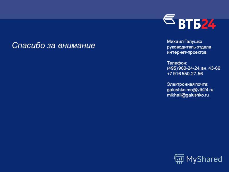 Спасибо за внимание Михаил Галушко руководитель отдела интернет-проектов Телефон: (495) 960-24-24, вн. 43-66 +7 916 550-27-56 Электронная почта: galushko.mo@vtb24.ru mikhail@galushko.ru