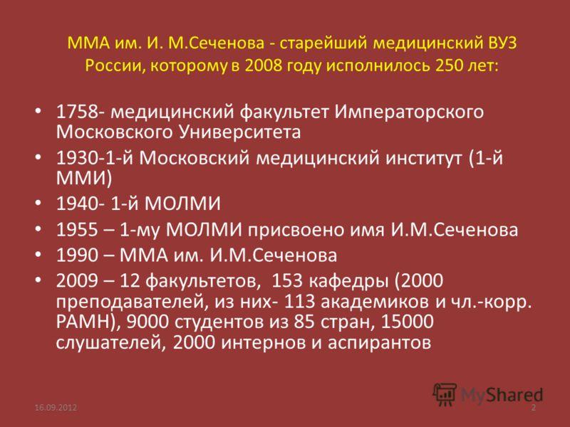 ММА им. И. М.Сеченова - старейший медицинский ВУЗ России, которому в 2008 году исполнилось 250 лет: 1758- медицинский факультет Императорского Московского Университета 1930-1-й Московский медицинский институт (1-й ММИ) 1940- 1-й МОЛМИ 1955 – 1-му МОЛ