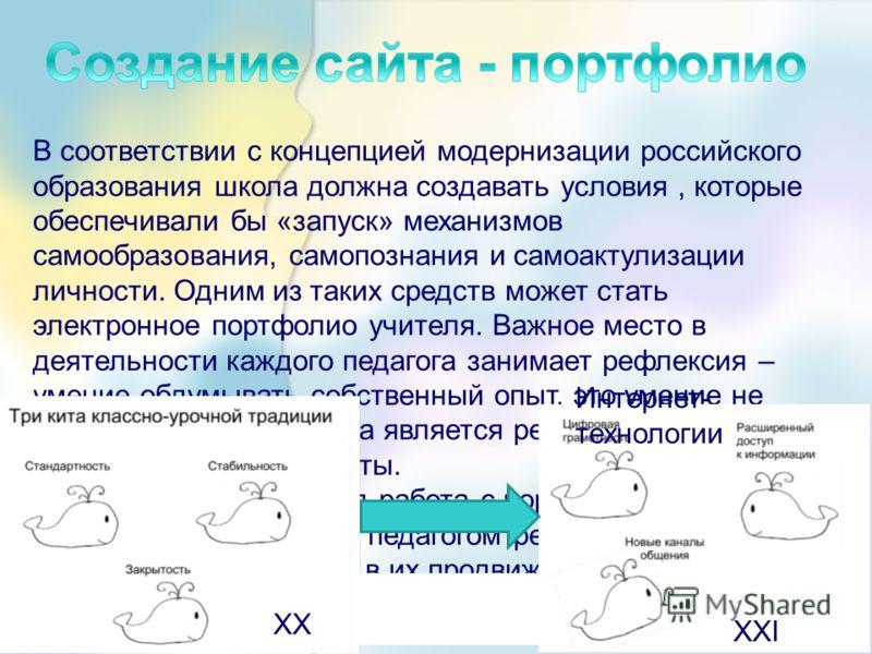 В соответствии с концепцией модернизации российского образования школа должна создавать условия, которые обеспечивали бы «запуск» механизмов самообразования, самопознания и самоактулизации личности. Одним из таких средств может стать электронное порт