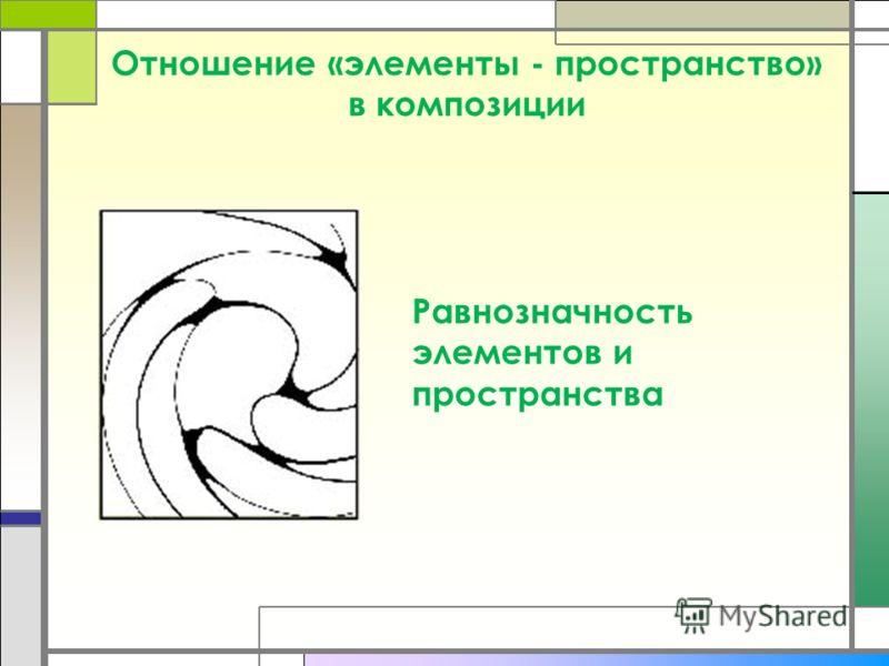 Отношение «элементы - пространство» в композиции Равнозначность элементов и пространства