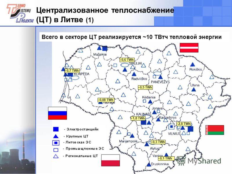 4 Централизованное теплоснабжение (ЦТ) в Литве (1) ~1,8 TWh ~2,8 TWh ~0,5 TWh ~0,6 TWh ~0,7 TWh ~0,1 TWh ~0,3 TWh ~0,08 TWh Всего в секторе ЦТ реализируется ~10 ТВтч тепловой энергии
