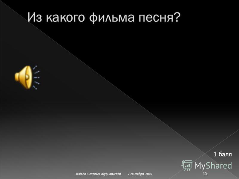 7 сентября 2007Школа Сетевых Журналистов 15 1 балл