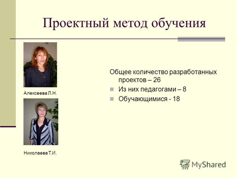 Проектный метод обучения Общее количество разработанных проектов – 26 Из них педагогами – 8 Обучающимися - 18 Алексеева Л.Н. Николаева Т.И.