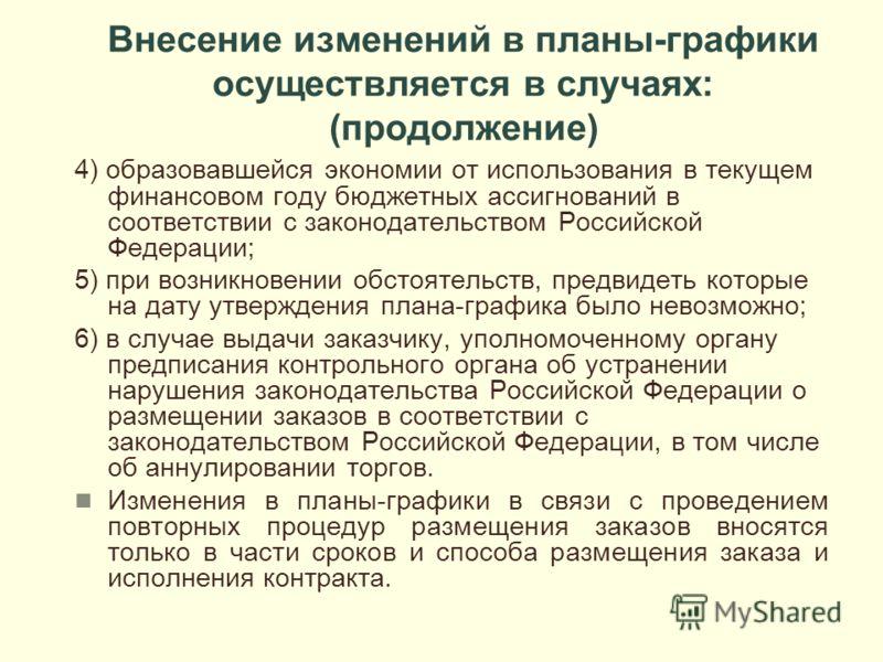 Внесение изменений в планы-графики осуществляется в случаях: (продолжение) 4) образовавшейся экономии от использования в текущем финансовом году бюджетных ассигнований в соответствии с законодательством Российской Федерации; 5) при возникновении обст