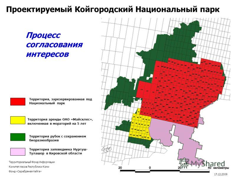Территория, зарезервированная под Национальный парк Территория заповедника Нургуш- Тулашор в Кировской области Территория аренды ОАО «Майсклес», включенная в мораторий на 5 лет Проектируемый Койгородский Национальный парк Территория рубок с сохранени