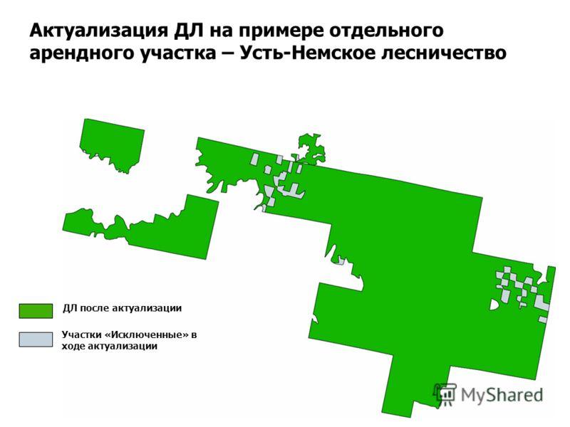 Актуализация ДЛ на примере отдельного арендного участка – Усть-Немское лесничество ДЛ после актуализации Участки «Исключенные» в ходе актуализации