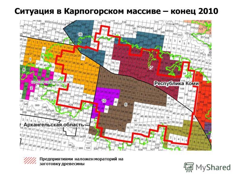 Ситуация в Карпогорском массиве – конец 2010 Предприятиями наложен мораторий на заготовку древесины
