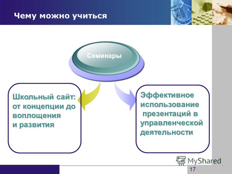 www.themegallery.com Company Logo Чему можно учиться Семинары Школьный сайт: от концепции до воплощения и развития Эффективноеиспользование презентаций в презентаций вуправленческойдеятельности 17
