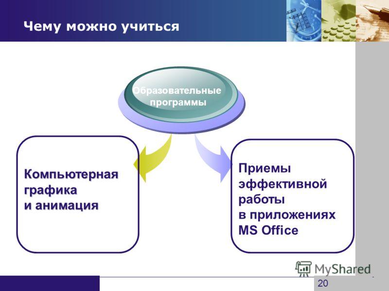 www.themegallery.com Company Logo Чему можно учиться Образовательные программы 20 Компьютернаяграфика и анимация Приемы эффективной работы в приложениях MS Office
