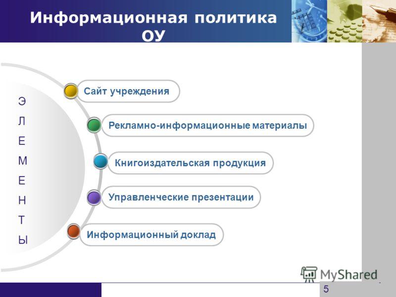 www.themegallery.com Company Logo Информационная политика ОУ Информационный доклад Управленческие презентации Книгоиздательская продукция Рекламно-информационные материалы Сайт учреждения ЭЛЕМЕНТЫЭЛЕМЕНТЫ 5