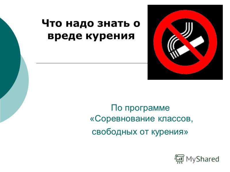 По программе «Соревнование классов, свободных от курения» Что надо знать о вреде курения