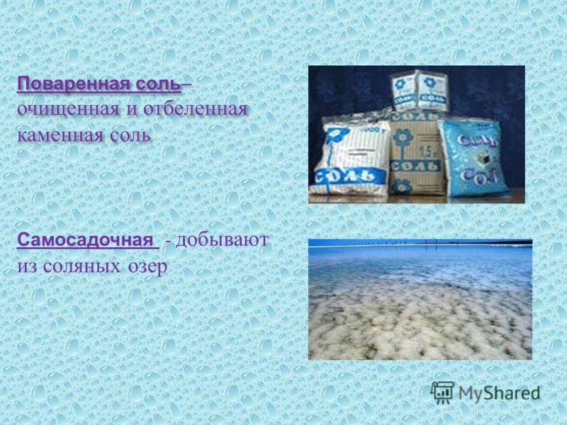 Самосадочная - добывают из соляных озер
