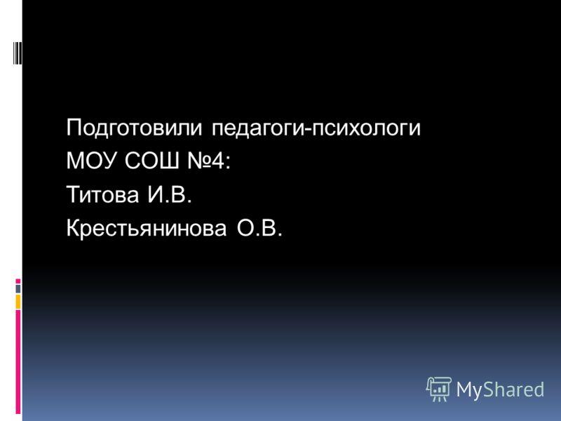 Подготовили педагоги-психологи МОУ СОШ 4: Титова И.В. Крестьянинова О.В.