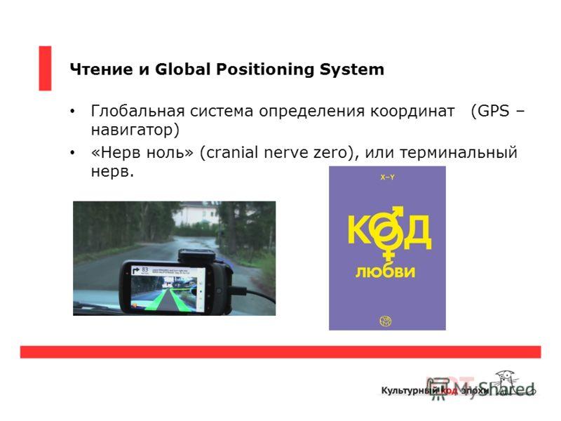 Чтение и Global Positioning System Глобальная система определения координат (GPS – навигатор) «Нерв ноль» (cranial nerve zero), или терминальный нерв.