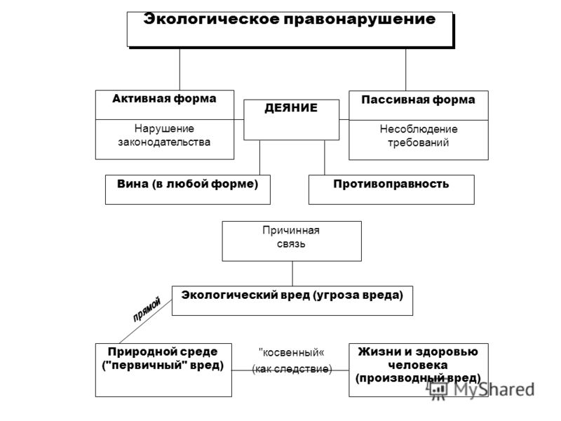 Экологическое правонарушение Активная форма Пассивная форма ДЕЯНИЕ Нарушение законодательства Несоблюдение требований Вина (в любой форме)Противоправность Экологический вред (угроза вреда) Причинная связь Природной среде (