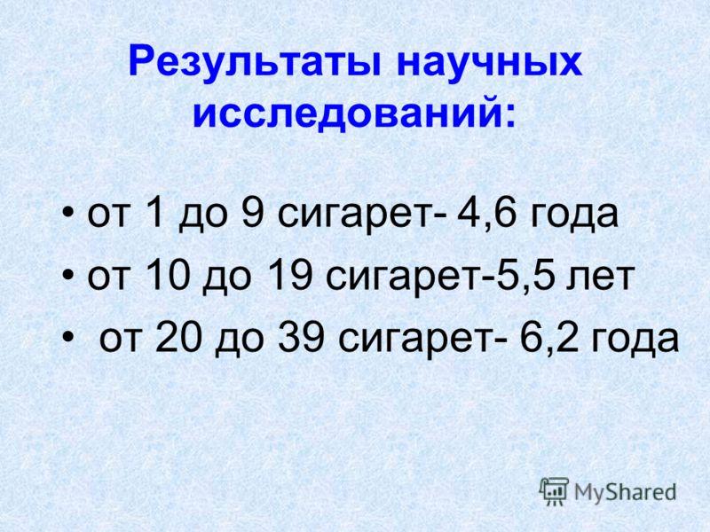 Результаты научных исследований: от 1 до 9 сигарет- 4,6 года от 10 до 19 сигарет-5,5 лет от 20 до 39 сигарет- 6,2 года